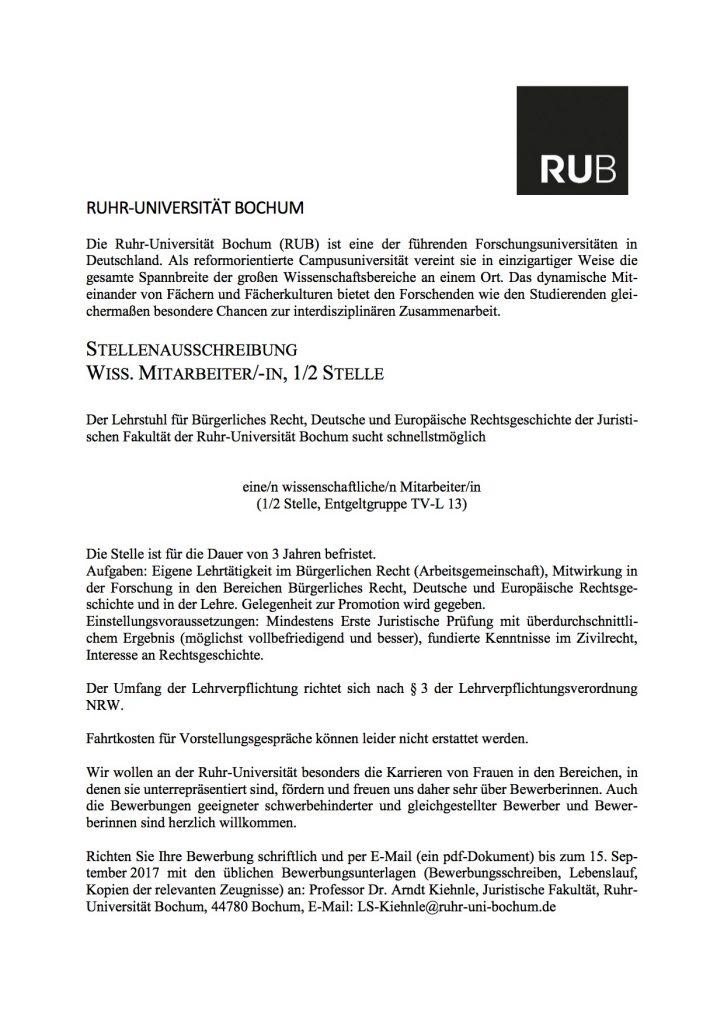 ruhr universitt bochum sucht wiss mitarbeiter mw mit gelegenheit zur promotion - Uni Bochum Bewerbung